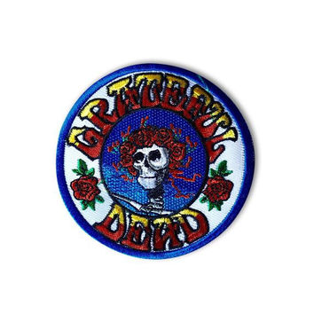 """GRATEFUL DEAD PATCH: Iron On, """"Skull & Roses"""", Handmade, Embroidered, Patches, Vintage, Jerry Garcia, The Dead, Gift Idea"""