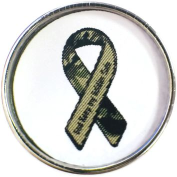 God Keep My Soldier Safe Camouflage Military Support Ribbon 18MM - 20MM Snap Charm New Item
