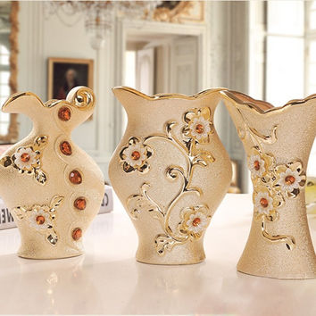 Creative Luxury Morden Gold-plated Ceramic Vase Home Decor Flower Vase For Wedding Gift