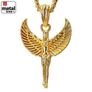 "Jewelry Kay style Men's 14k Gold Plated Michael Angel Long Wing 30"" Cuban Chain Necklace MMP 112 G"