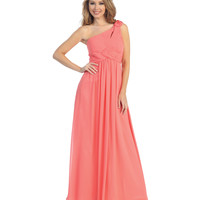 Coral Pleated Chiffon One Shoulder Gown 2015 Prom Dresses
