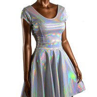 Silvey White Hologram Holographic Scoop Neck Cap Sleeve Fit and Flare Skater Skate Dress Rave Clubwear EDM -E7720