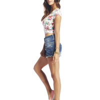 White Floral Crop Tee | Wet Seal