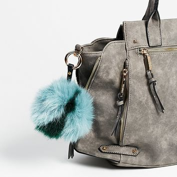 Free People Multi Faux Fur Pompom Bag Charm