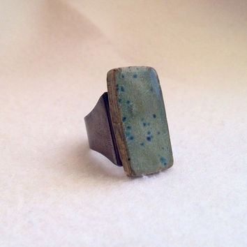 Handmade ceramic speckled blue color on gun metal black brass ring adjustable Perfect for Valentine's Day large lead and nickel free ring