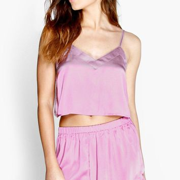 Kara Satin Crop Vest And Shorts Night Set