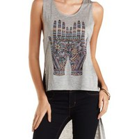High-Low Hamsa Hands Tank Top by Charlotte Russe
