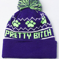 The Pretty Bitch Pom Pom Beanie in Purple