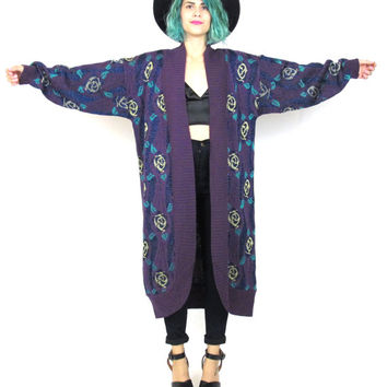 80s Floral Print Duster Cardigan Oversized Cocoon Sweater Purple Rose Jumper Metallic Cozy Winter Robe Open Front Sweater (S/M/L)