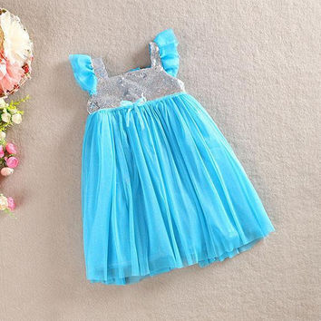 Kids Baby Girls One Piece Dress Ruffled Sleeve Sequins Pleated Dresses 1-5 Years NW