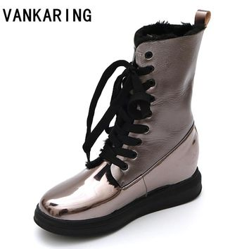 VANKARING new fashion women ankle boots shoes high quality wedges round toe platform shoes woman winter warm snow casual boots