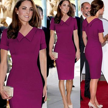 Fashion 2017 Ceremony Elegant Party Women Dresses Retro Formal Princess Kate Middleton Celebrity Kleider Ukraine Official Runway