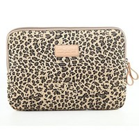 NEWSTYLE Stylish and Cute Leopard's Spots Leopard Print Style Canvas Fabric 15-15.6 Inch Laptop / Notebook Computer / MacBook / MacBook Pro / MacBook Air / Dell / HP / Lenovo / Sony / Toshiba / Acer / Samsung / Haier Ultrabook Computer Sleeve Carrying Case