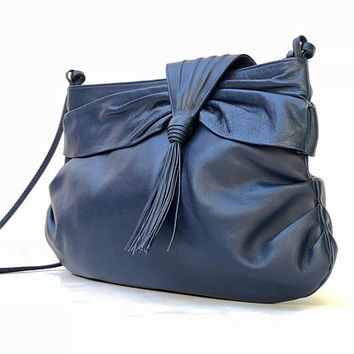 OROTON!!! Vintage 1980s 'Oroton' blue leather shoulder bag with gathered sides and asymmetric tasseled front flap