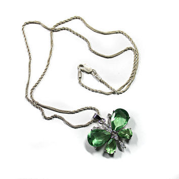 Butterfly Necklace, Green Glass Butterfly Pendant with Silver Chain, Women's Spring Fashion Jewelry