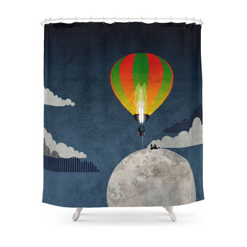 Society6 Picnic In A Balloon On The Moon Shower Curtains