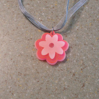 Ready to ship spring flower floral necklace girls women pendant 3D white fluorescent pink