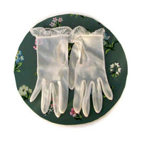 Vintage Ladies Gloves White Organza with Lace Cuff 1950's