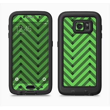 The Lime Green Black Sketch Chevron Full Body Samsung Galaxy S6 LifeProof Fre Case Skin Kit