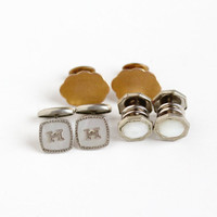 Antique Art Deco & Edwardian Cufflinks - Vintage Silver Tone Mother of Pearl Gold Filled Men's Snap Cuff Link Dress Shirt Accessory Jewelry