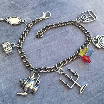 Tale As Old As Time Charm Bracelet - Fairytale Jewelry - Once Upon A Time Jewelry - Princess Jewelry - Be Our Guest Jewelry
