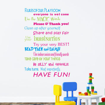 Rules of Our Playroom Inspirational Quotes Words Wall Mural Art Decal