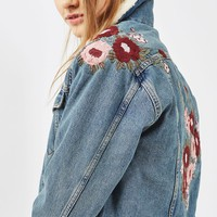 PETITE Embroidered Borg Jacket | Topshop