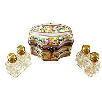 Pink Flower With 4 Bottles Limoges Boxes