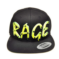 RAGE Lime Green Acrylic Letters Snapback in Black