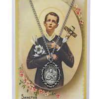 """ST GERARD PRAYER CARD SET, PEWTER MEDAL INCLUDES 18"""" SILVERTONE CHAIN & LAMINATED HOLY CARD"""