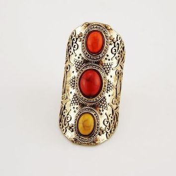 Gypsy, Boho, Punk - Unique Tibetan Antique Gold Plated Ring with Red, Yellow and Orange Stones