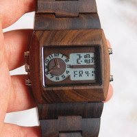 Wooden Watch For Women or Men Wood Watch Alarm Clock Stopwatch Wrist Bracelet Quartz Vintage Watch With Square Dial Gift Ebony Black(W01038)