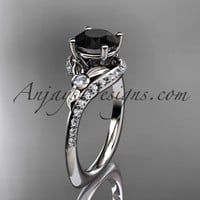 14kt white gold diamond leaf and vine engagement ring with a Black Diamond center stone ADLR112