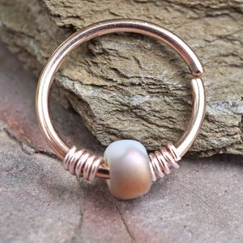 16g 18g or 20 Gauge Rose Gold Beaded Bronze and White Nose Hoop Ring or Helix Tragus Cartilage Hoop Earring