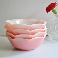 Etsy Transaction -          Reserved for Ringie3 - Hazel Atlas Pink Ripple Crinoline Cereal Bowls Times 4