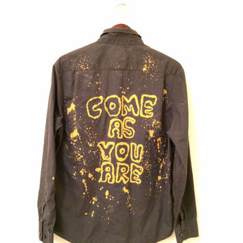 Come As You Are Shirt with Smiley Face + Acid Wash. Olive green & mustard yellow hipster grunge 90s nirvana rock tumblr ooak apparel unisex