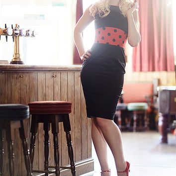 Black Wiggle Dress with Open Back, Pin Up Girl Dress, Rockabilly Clothing, Made to Order in UK Size 6-20/ US Size 2-16