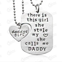 2 Set There is this girl she Stole my heart she calls me DADDY DAUGHTER Dog Tag Heart Pendant Necklace Father's Gift Jewelry