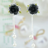 14g dangling 3D gothic black rose flower Austrian crystal cz hand made long beaded belly ring belly button ring navel ring piercing