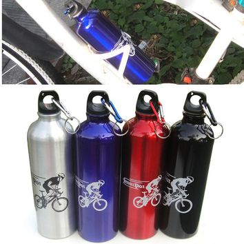 Dropship 1pc 750ml Aluminum Alloy Multi-color Water Bottle Kettle Cup Portable Bicycle Water Bottle for Outdoor Bicycle Cycling