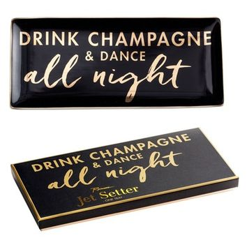 Rosanna Drink Champagne & Dance All Night Porcelain Trinket Tray | Nordstrom