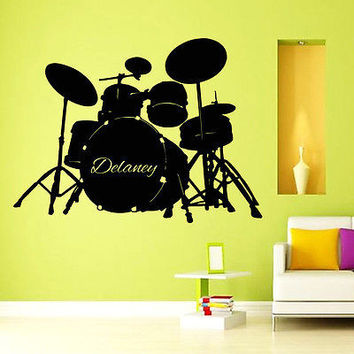 WALL DECALS BABY BOY CUSTOM PERSONALIZED NAME MUSIC DRUMS KIDS ROOM DECOR A573