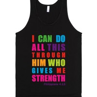 Colorful Philippians 4:13 (with a white underbase)-Black Tank