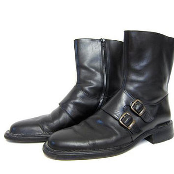 Vintage Black Leather Boots. Color Haan Zip Up Boots. Double Monk Strap British Buckled Boots. Tall Ankle Boots. Supple Leather Boots. 11.5