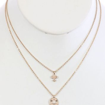 Gold 2Pc Fleur De Lis Charm Chain Necklace