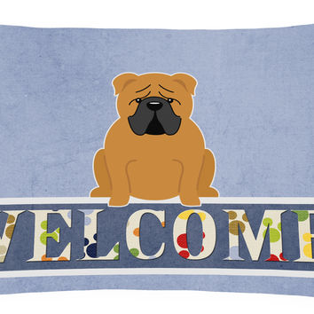 English Bulldog Red Welcome Canvas Fabric Decorative Pillow BB5703PW1216