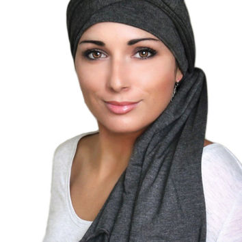 Charcoal Gray Jersey Turban, Head Wrap, Alopecia Scarf, Chemo Hat & Scarf Set
