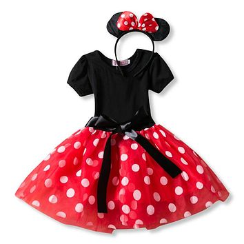 Baby girl dress Party Costume Ballet Dresses Kids Tutu Leotard Dance dress Headwear clothes set Polka Dot Bowknot Cute dresses