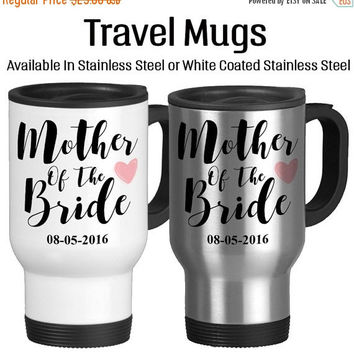 Travel Mug, Mother Of The Bride Personalized Parent Of The Bride Pink Heart Wedding Gifts Mom Of The Bride, Stainless Steel 14 oz