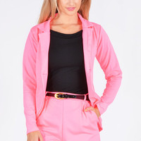 Opal Tailored Blazer And Belted Short Two Piece Set In Neon Pink